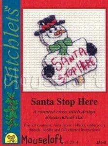 Mouseloft Santa Stop Here Card Christmas Stitchlets cross stitch kit